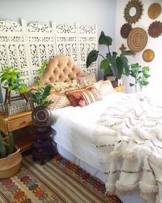 Carved Panel extra headboard, gorgeous boho textiles and wall accessories