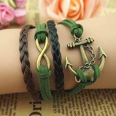 DIY Retro Bronze Anchor Infinity Charms Leather Green Suede Wrap Bracelet | eBay