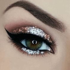 eyeshadow looks Fantastic Ways to Wear Awesome Silver Eyeshadow Makeup ~ Are you ready for simple perfectly Silver Eyeshadow Look? For special occasions like a party, photoshoot, e Prom Eye Makeup, Bronze Eye Makeup, Glitter Makeup, Smokey Eye Makeup, Party Makeup, Eyeshadow Makeup, Eyeliner, Eyeshadows, Glitter Eye