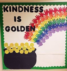 Author used this bulletin board for March. Whenever each child did an act of kindness, she/he wrote it up and posted it up! Patrick's Day, she/he used the opportunity to celebrate kindness in the classroom Summer Bulletin Boards, Classroom Bulletin Boards, March Bulletin Board Ideas, Classroom Door, Classroom Themes, Preschool Bulletin, Preschool Activities, Kindness Bulletin Board, Bulletin Boards