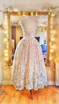 'Tamara' flower embellished tulle and ivory silk tea length wedding dress by Joanne Fleming Design