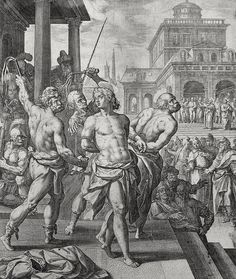 Luke in the Phillip Medhurst Collection 610 The apostles are scourged Acts 5:40 De Vos on Flickr. A print from the Phillip Medhurst Collection of Bible illustrations, published by Revd. Philip De Vere...