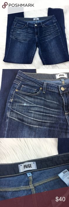 """Paige Jeans 28 Jimmy Jimmy Skinny Denim Paige Jeans 28 Jimmy Jimmy Skinny Denim. Perfect condition. 69% cotton. 30% polyester, 1% elastase. Wash= """"Bennett"""" Slightly distressed look Waist= 28in Rise= 8in Inseam= 30 inches Skinny B4 PAIGE Jeans Skinny"""