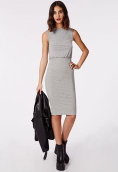 Channel major Off Duty vibes this season with this super-hot grey midi dress. The perfect throw on and go item with soft jersey fabric, round neck and cinched waistline this dress is a beaut. Team with faux leather pumps for effortless styl...
