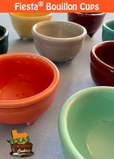 Fiesta Bouillon Cups, produced by Homer Laughlin China; list of colors, production dates, sales and auctions. Flamingo Bowl, Color Glaze, Blue Bowl, Homer Laughlin, Cereal Bowls, Light Orange, Lemon Grass, Tripod, Dinnerware