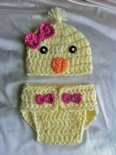 Ready to ship - just in time for Easter! Baby chick hat and diaper cover SET  yellow and by creationsbytiff, $25.00