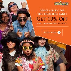"""Have a bash on The Freshers Party. Apply coupon code """"FRESHER"""" and get 10% off. http://www.funcart.in  #Funcart #Party #Fun #PartySupplies #weekend"""