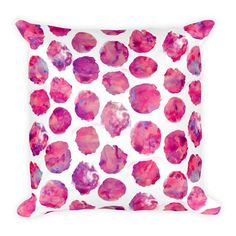 Bright magenta watercolor-style polka dots adorn this happy throw pillow!  Each pillow cover is digitally printed and made to order in California.  DETAILS: - 18x18 inches - 80% polyester / 20% cotton fleece - Soft and durable - Individually cut and sewn in LA - Double sided print (name/initials will print on one side only) - Concealed zipper - Machine washable - Pillow insert included (handwash only) - Resilient polyester filling retains shape  PROCESSING TIME and SHIPPING: To cut down on…