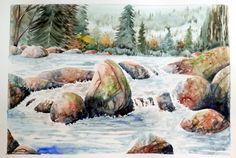 Original and signed watercolor. Painting in watercolor, landscape, forest, river. Blue, green, brown.