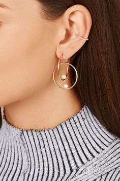 Anissa Kermiche 14-karat gold pearl hoop earring $1,040 Bell-back fastening for pierced ears Freshwater pearls: China