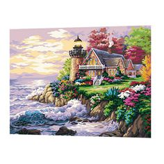 Seaside Villa DIY Oil Painting Paint By Number Kits On Canvas Home Decor #Affiliate