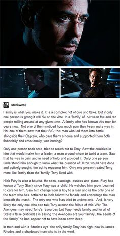 "The roots of ""family"" don't seem to run very deep among the Avengers - but Tony, at least, has Nick and Rhodey."