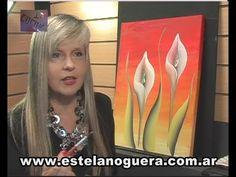 ESTELA NOGUERA PINTA CALAS Brush Strokes Painting, One Stroke Painting, Painting Videos, Painting Lessons, Easy Paintings, Painting Techniques, Rock Flowers, Calla, Summer Painting