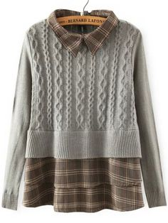 Shop Grey Lapel Plaid Hem Cable Knit Sweater online. SheIn offers Grey Lapel Plaid Hem Cable Knit Sweater & more to fit your fashionable needs.