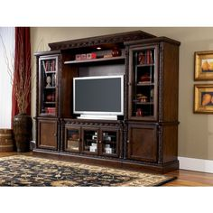 North Shore Entertainment Center by Millennium. Get your North Shore Entertainment Center at Owen's Home Furnishings, Clinton NC furniture store. Entertainment Center Furniture, Entertainment Center Wall Unit, Home Entertainment, Traditional Family Rooms, Traditional Design, Corpus Christi, Living At Home, My Living Room, North Shore