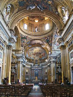 Nave and main alter, Il Gesù Church of the Jesuits, Rome, Italy Sacred Architecture, Baroque Architecture, Church Architecture, Historical Architecture, Beautiful Architecture, Beautiful Buildings, 3d Foto, Church Interior, Cathedral Church