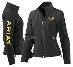 """Ariat Team black softshell jacket will be on every woman's list of """"want to have"""" riding apparel. The sporty design of the jacket is flattering as it is functional. You will grab it every time you are heading out to ride your horse!"""