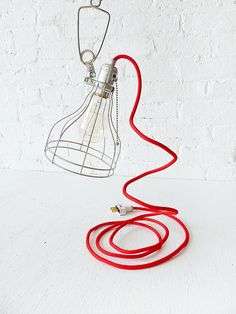 Vintage Machine Age Clip Cage Light w/ Red Color Cord
