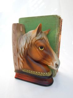 vintage horse head bookend.ceramic.midcentury.equestrian.animal.japan.library.tessiemay vintage by tessiemay on Etsy