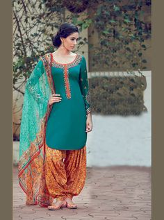 Sea Green Cotton Satin Punjabi Suit 70180