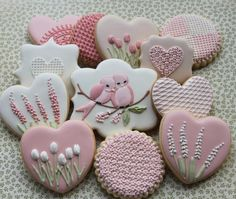 Tulips, love birds, lace, hearts by Miss Biscuit, posted on: Floral bird cookies | Cookie Connection