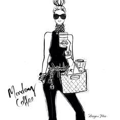 Two words: 1.Double 2. Espresso / Megan Hess Illustration #monday #coffee