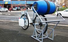 a bicycle powered washing machine. Makes you think, people buy exercise bikes but don't hook them up to anything. Such a waste.