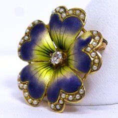 Art Nouveau Iridescent Enameled Pansy Flower Pin