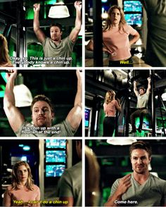 "#Arrow 5x20 ""Underneath"" - ""Okay, So. This is just a chin up. Everybody knows a chin up. Well... It's a chin up with a flourish at the end! Yeah... I can't do a chin up. Come here."" - #OliverQueen #FelicitySmoak"