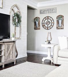 Today I am sharing with you some of the best farmhouse decor on a budget for each room in your home! Black Wall Shelves, Window Frame Decor, Windmill Decor, Cottage Living Rooms, My Furniture, Metal Chairs, Baskets On Wall, At Home Store, Dream Decor