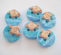 Button Sparkling Sea and Turtle handmade polymer clay buttons ( 6 )