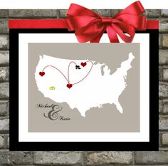 Custom US Map With Hearts: United States Wall Art, 8x10 Art Print Unique Gift For Couple who Travel Mothers Day Gift Poster.  21.99, via Etsy.