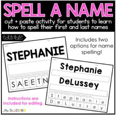 EDITABLE Name Spelling Cut and Paste Activity by Mrs Ds Corner   TpT Preschool Name Recognition, Preschool Names, Name Practice, Letter Formation, Cut And Paste, Writing Paper, Second Grade, Teacher Pay Teachers, Spelling
