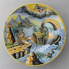 Assiette : Jonas et la baleine, 16e siècle, musée du Louvre