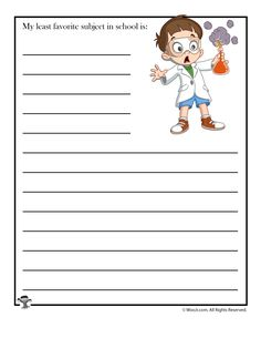 My least favorite subject in school is. Writing Prompts Funny, Writing Prompts For Writers, Picture Writing Prompts, Sentence Writing, Writing Ideas, Favorite Subject, Least Favorite, Worksheets For Kids, Activities For Kids
