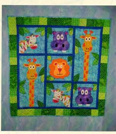 Beautiful Kid Bedroom Green Zoo Themed Baby Quilt Design With Green Fabric Baby Blanket With Pictures Cute Animals Including Orange Lions And Giraffes Also Purple Hippos As Well As New Baby Gifts And Quilts For Baby, Sweet Ideas Quilt Designs For Babies : Kids Room