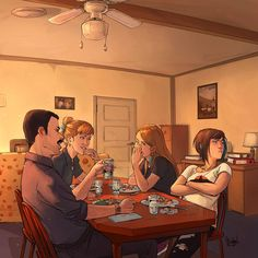 Just a quite afternoon in the Price home. Art by Afterlaughs.