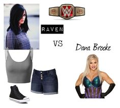 """Raven VS Dana Brooke"" by artemis-moonlight on Polyvore featuring Material Girl, Doublju, Jennifer Lopez, Converse and WWE"