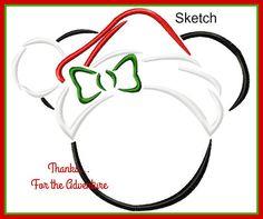 Christmas Santa Minnie Mouse Sketch Digital Embroidery Machine