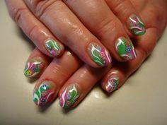 Fingernagel Galerie Grün Pink