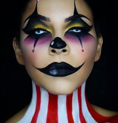 Are you looking for inspiration for your Halloween make-up? Check out the post right here for creepy Halloween makeup looks. Maquillage Halloween Clown, Crazy Halloween Makeup, Halloween Costumes Women Scary, Halloween Inspo, Halloween Tags, Creepy Halloween, Halloween Kostüm, Easy Clown Makeup, Eye Makeup