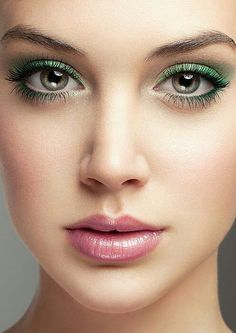Green shadow with light pink rouge-makeup