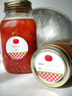 Gingham Tomato Canning jar labels round red cottage chic mason jar stickers, CanningCrafts, $4