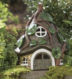 Miniature Fairy Garden Solar Pixie House, in Green Plow & Hearth Clay Fairy House, Gnome House, Fairy Garden Houses, Miniature Fairy Gardens, Miniature Houses, Pottery Houses, Fairy Village, Clay Fairies, Clay Houses