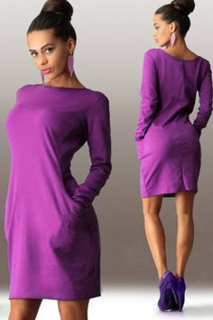Jhonpeters Women Solid Round Neck Doulbe Pockets Bodycon Clubwear Dress Purple