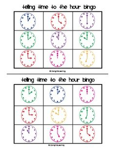$ Telling Time to the Hour Bingo