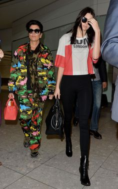 Kendall Jenner and Kris Jenner arrive at Heathrow Airport in London on July 12, 2015.