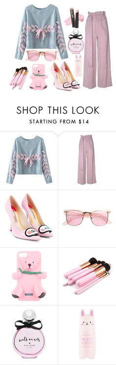 """""""Walking to you"""" by lujzazsu ❤ liked on Polyvore featuring Chicnova Fashion, MSGM, Sophia Webster, ZeroUV, Moschino, Kate Spade, Tony Moly, Pink, pastel and kawaii"""