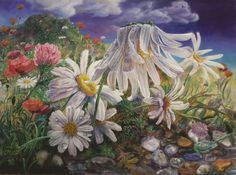 Daisies (Boyama),  170x130x3 cm EREN tarafından acrylic on oil painting. In this way, very vibrant colors and textures.