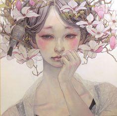 Цветочные мотивы в картинах Михо Хирано (Miho Hirano).